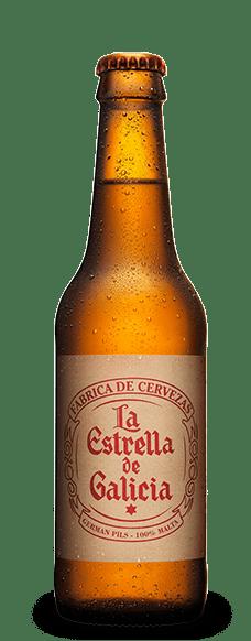 Cerveza La Estrella de Galicia en botella de 33cl