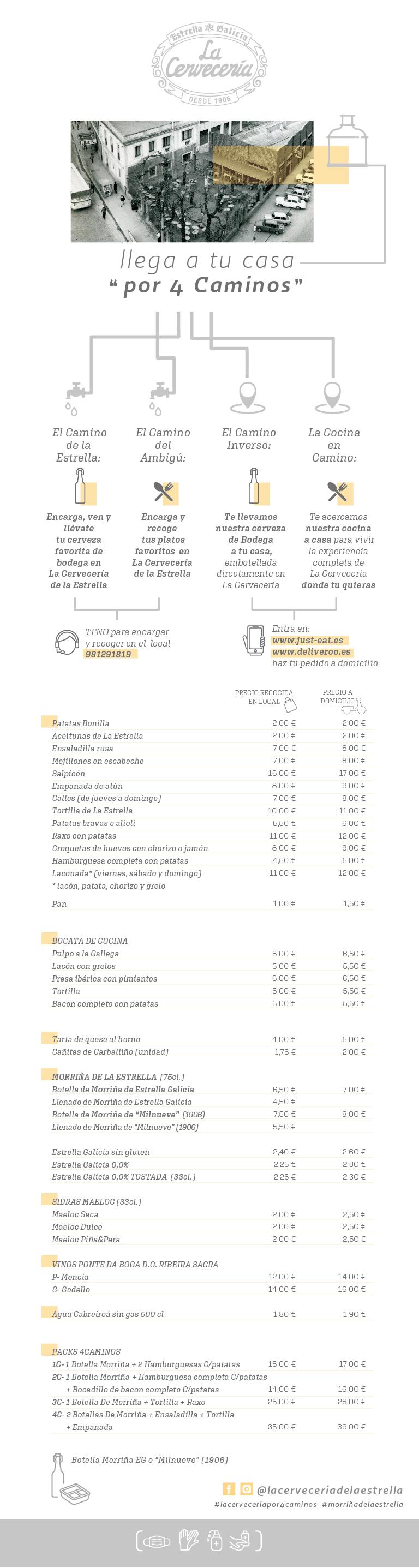 Carta TakeAway de La Cervecería de Estrella Galicia