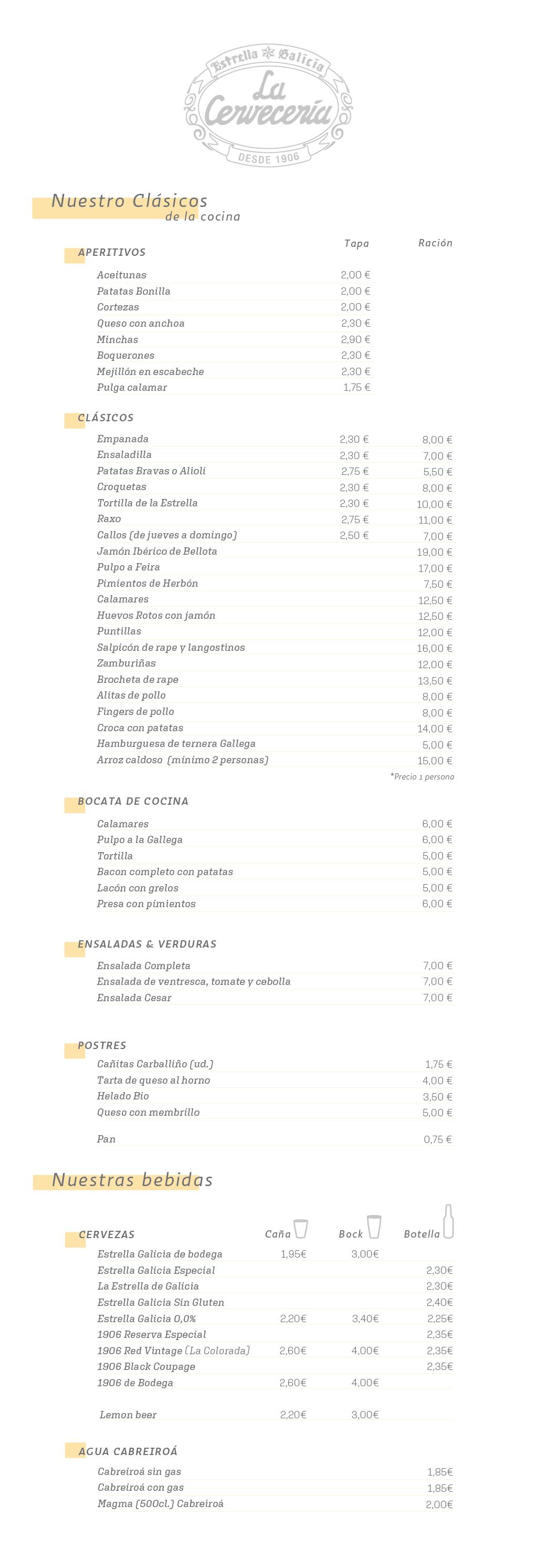 Carta de La Cervecería de Estrella Galicia